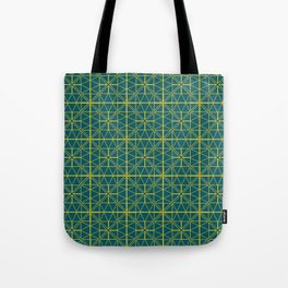 Emerald Green Triangles Pattern Tote Bag