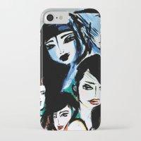 women iPhone & iPod Cases featuring Women by caribarbachano