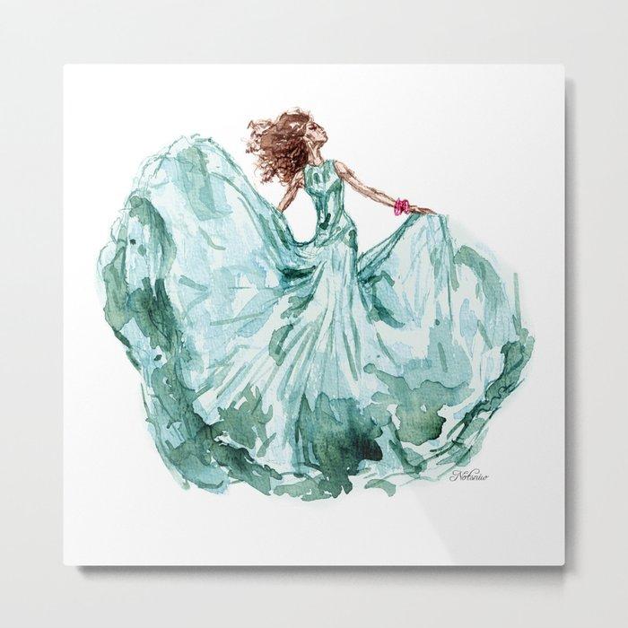 Fashion Blue Turquoise Teal Dress Girl Metal Print