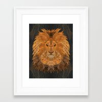 the lion king Framed Art Prints featuring King Lion by ArtLovePassion