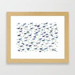 Blue Stampede Framed Art Print