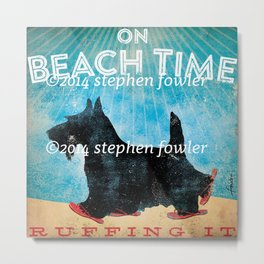 Beach Time Scottie by Stephen Fowler Metal Print