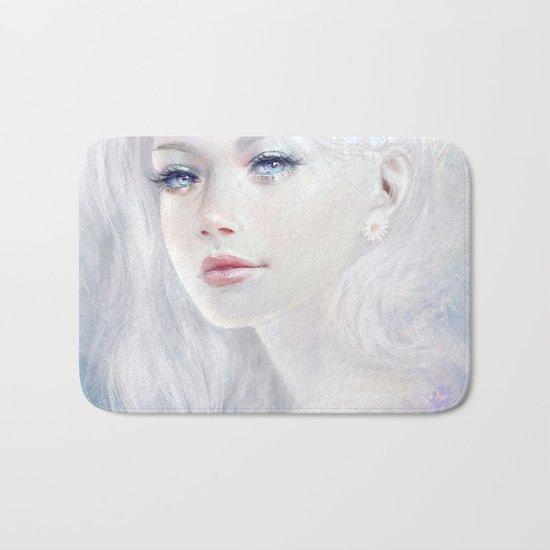 Ethereal - White as ice beatiful girl portrait Bath Mat