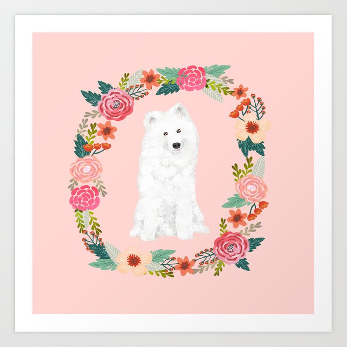 Samoyed dog breed floral wreath pet portrait dog gifts Art Print