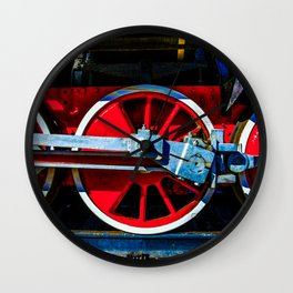 Red Wheels And Driving Rods Of A Vintage Steam Locomotive Wall Clock