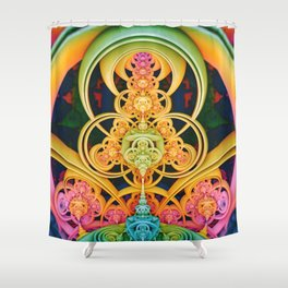 Time Shell III. Colorful Abstract Render Shower Curtain