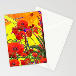 MODERN TROPICAL FLOWERS GARDEN DESIGN IN YELLOW-ORANGE COLORS Stationery Cards