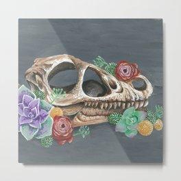 Skull & Succulents Metal Print