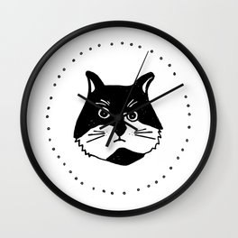 Black and white Cat, kids room and nursery deco Wall Clock