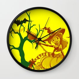 Sassy Little Witch Wall Clock