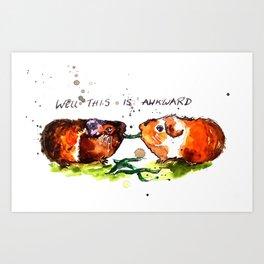 Guinea Pigs Feeling Awkward Art Print