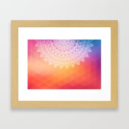 colorful indi pattern, boho print, peach white, henna, beautiful boho, bright popular design Framed Art Print
