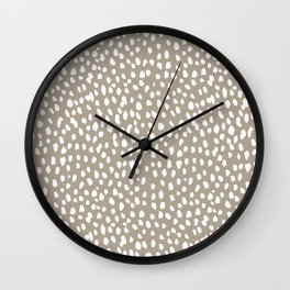 White on Dark Taupe spots Wall Clock