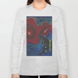 Red Flowers and Butterfly still life portrait by Joseph Stella Long Sleeve T-shirt