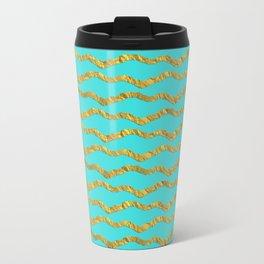 Golden waves - Abstract geometrical pattern on aqua backround Travel Mug