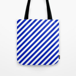 Cobalt Blue and White Wide Candy Cane Stripe Tote Bag