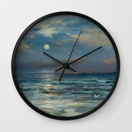 Moonlit Beach Seascape No. 2 landscape painting by Thomas Moran Wall Clock