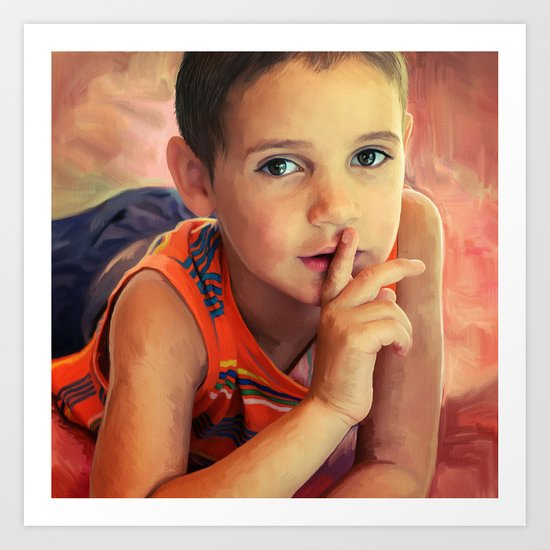 Hush - portrait of a boy with his finger to his lips Art Print