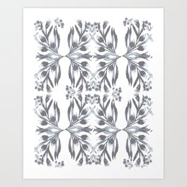 Indigo Traditional Motif Art Print