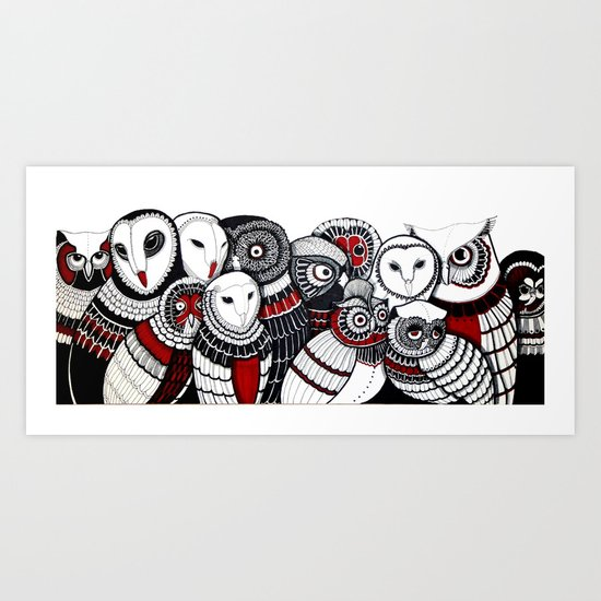 13 owls Art Print