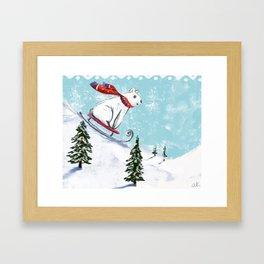 Sledding bear Framed Art Print