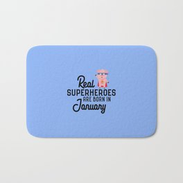 Superheroes-are-born-in-January T-Shirt Df1q5 Bath Mat