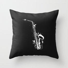 white saxophone graffiti Throw Pillow