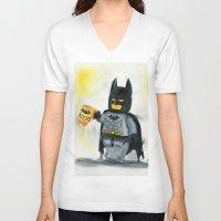 superhero V-neck T-shirts featuring Lego Superhero by Toys 'R' Art
