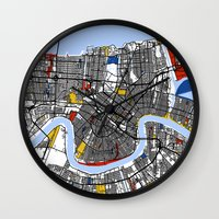 new orleans Wall Clocks featuring New Orleans by Mondrian Maps