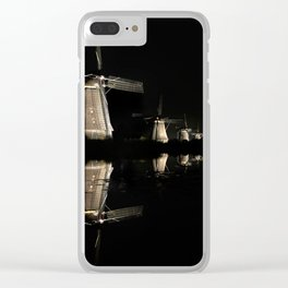 Floating illuminated windmills in the night Clear iPhone Case