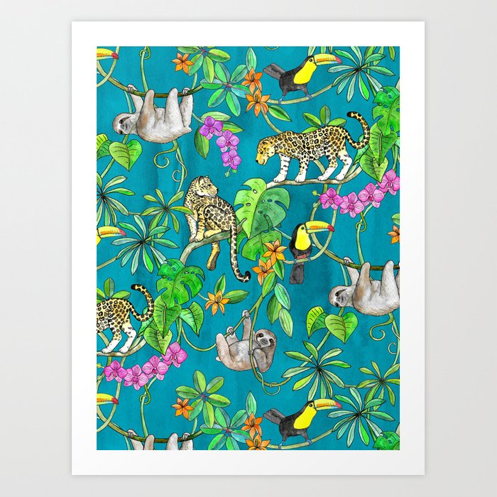Rainforest Friends - watercolor animals on textured teal Kunstdrucke