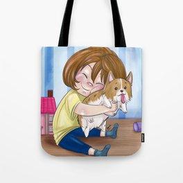 Corgi Hugs Tote Bag