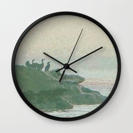 Shorebirds on Rocks Wall Clock