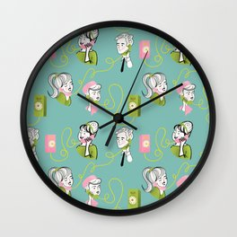 Party Line Retro Phone Pattern Wall Clock