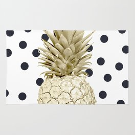 Gold Pineapple on Black and White Polka Dots Rug