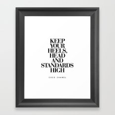 Keep Your Heels High Inspirational Quote Typography Print Framed Art Print