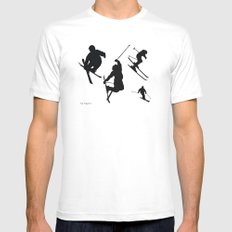 Skiing silhouettes MEDIUM White Mens Fitted Tee