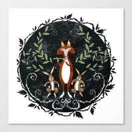 Fox & Rabbit Dance Canvas Print