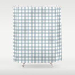 Dusty Blue Gingham Shower Curtain