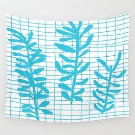 Grid Sprig - aqua blue Wall Tapestry