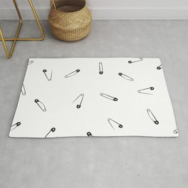 Black and white clothes pin pattern Rug