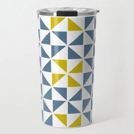 Pinwheel Quilt Blue and Yellow Travel Mug