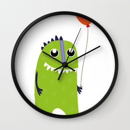 Happy green monster Wall Clock