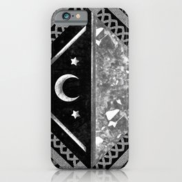 Moon and Lace Collage in Black and White iPhone Case