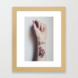 Joie de vivre - wrist tattoo flowers Framed Art Print