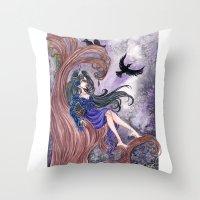 tina fey Throw Pillows featuring Morgan la Fey by Cat Craig