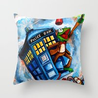 muppet Throw Pillows featuring Muppet Who - The eleventh doctor. by James Powell