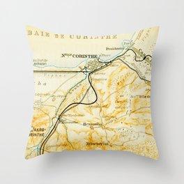 Vintage Map of Corinth Greece (1894) Throw Pillow
