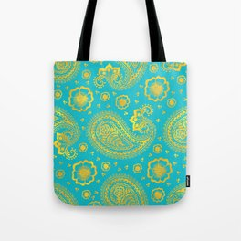 paisley: turquoise & gold Tote Bag