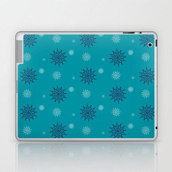 Blue and White Snowflakes Laptop & iPad Skin